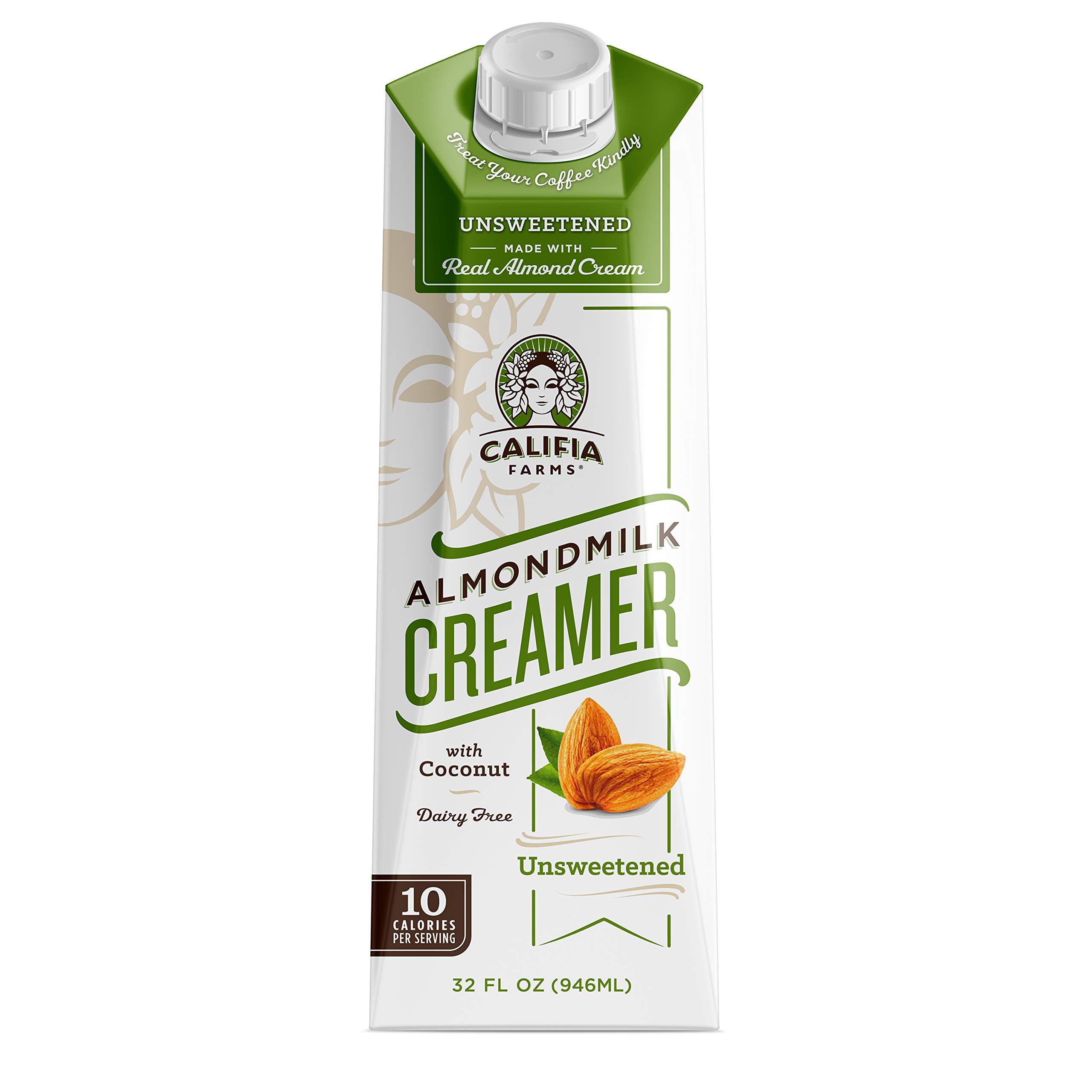Califia Farms - Unsweetened Almond Milk Coffee Creamer with Coconut Cream, 32 Oz (Pack of 6) | Non Dairy | Plant Based | Keto Friendly | Sugar Free | Low Calorie | Whole30 | Non-GMO | Shelf Stable