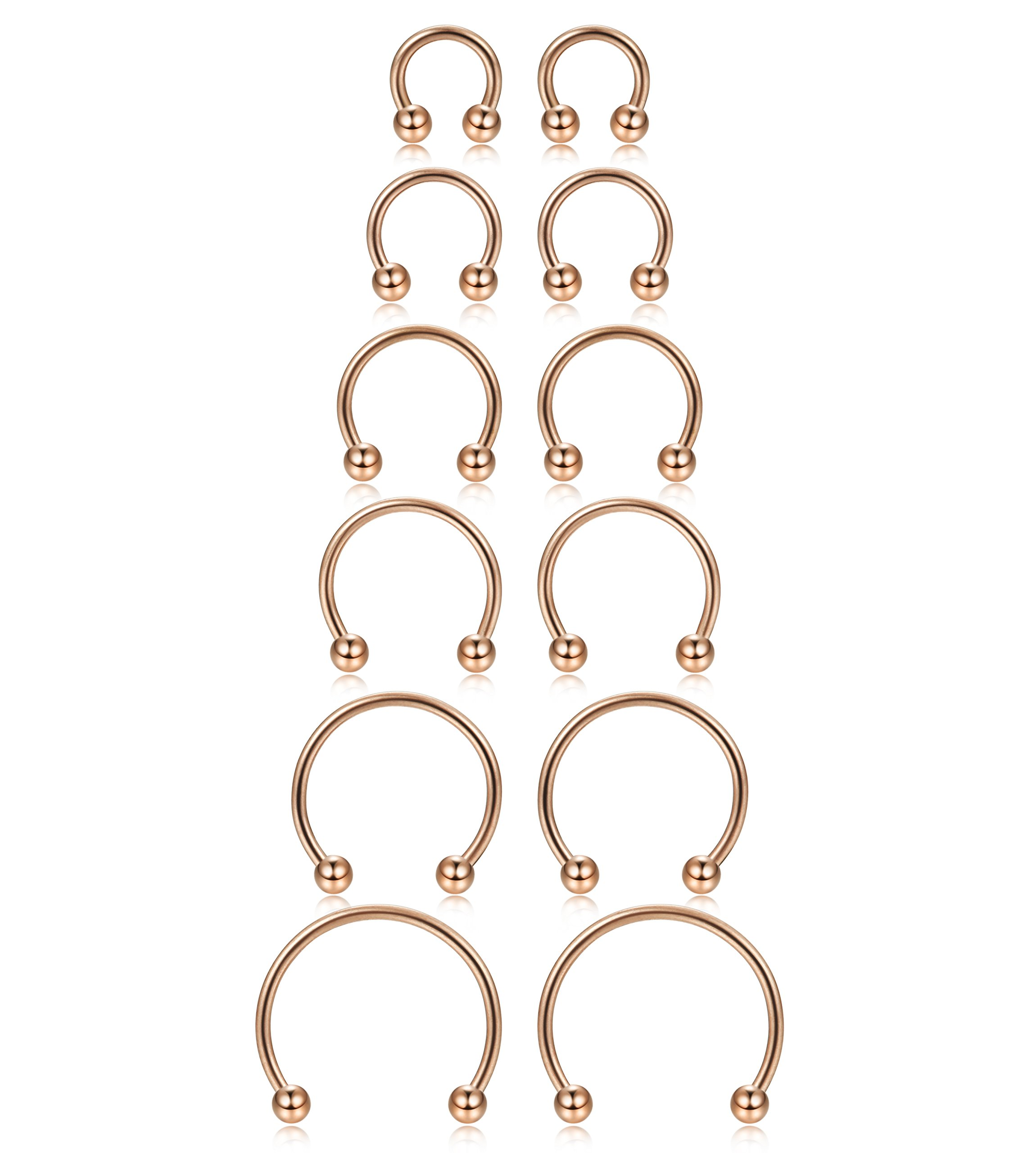 ORAZIO 6 Pairs 14-16G Stainless Steel Nose Rings Horseshoe Earring Fake Nose Septum Body Piercing 6MM-16MM