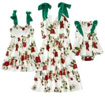 CRAZY GOTEND Mommy and Me Floral Printed Dresses Shoulder Straps Bowknot Chiffon Sleeveless Matching Outfits