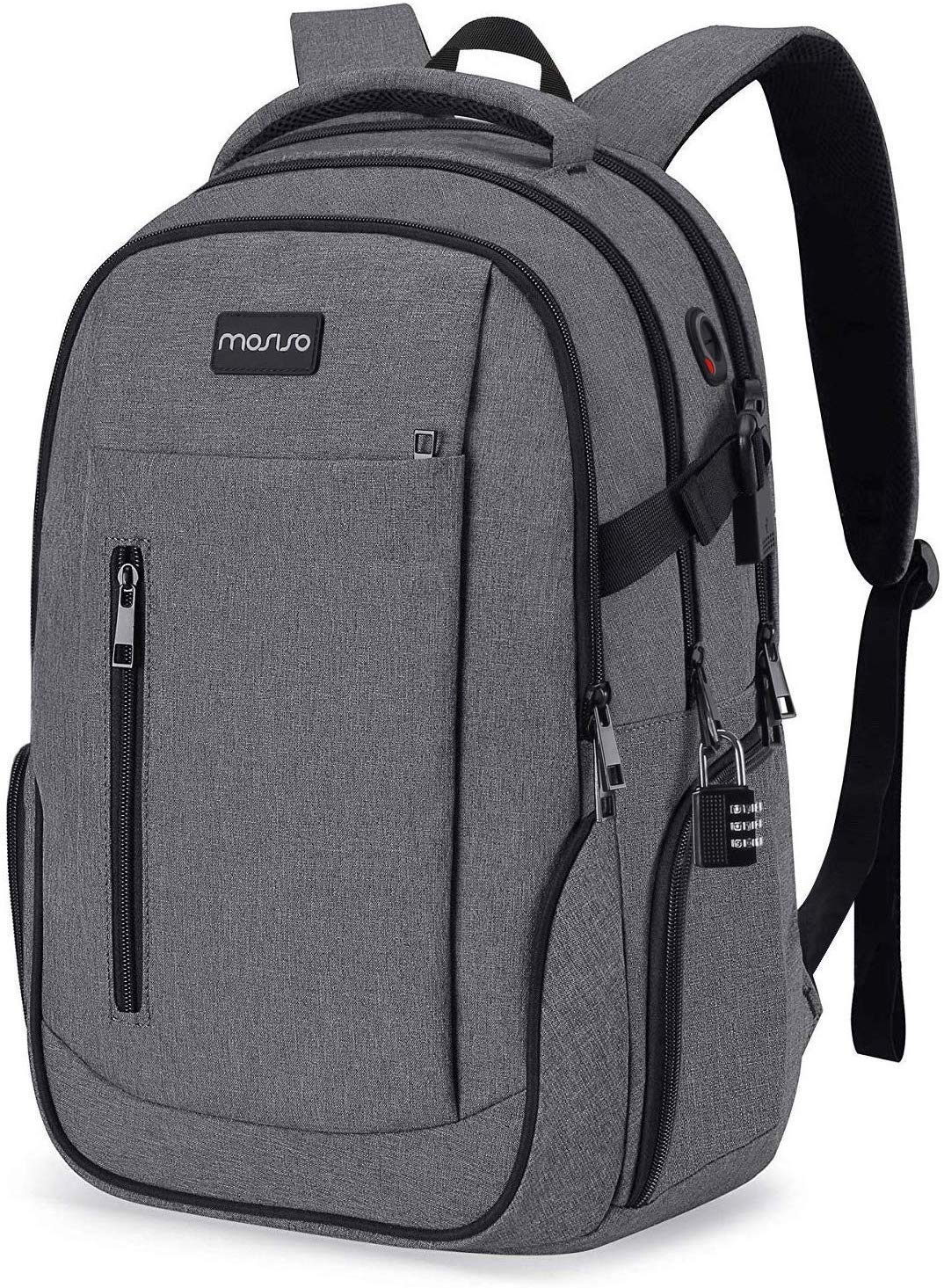 MOSISO Laptop Backpack for 15.6-17.3 inch Computer, Business Travel College School Anti Theft Daypack Bag with USB Charging Port&Lock&Trolley Belt for Women Men Student, Water Repellent Bookbag, Gray