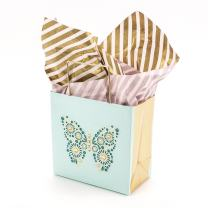 """Hallmark Signature 5"""" Small Gift Bag with Tissue Paper (Butterfly, Blue and Gold) for Birthdays, Mother's Day, Bridal Showers, Retirements or Any Occasion"""