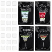 """Set of 4 Vintage Chalkboard Decorative Poster Set Of Cocktails And Drinks Perfect To Decorate The Ambiance Of A Bar, Restaurant, Pub, Lounge, Or House - 11x17"""" Cardboard - Great Party Decor Gift - Mini Bar Decor - Great Bar Accessories"""