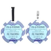Three Little Tots Two Pack - Blue Boy Preemie No Touching Baby Car Seat and Stroller Signs Gift - CPSIA Safety Tested