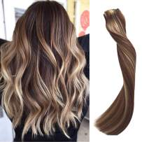 Highlights Clip in Human Hair Extensions for Women Clip on Brazilian Real Remy Hair Extensions Double Weft Full Head Even End Chestnut Brown with 613 Bleach Blonde Highlights 70g 7pcs 16 Clips 15 Inch