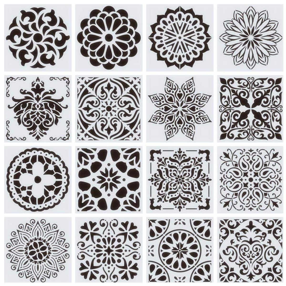 16-Pack (6x6Inch) Reusable Painting Stencils for Floor Wall Tile Fabric Furniture Wood Burning, Reusable Floor Stencil Painting Stencil