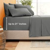 """Extra Deep Pocket Sheets - Bamboo Blend 6-Piece 21"""" Bed Sheet Set – Bamboo and Microfiber Blend – Extra Deep Bed Sheet – Ultra Deep Sheets for Deep Pockets Mattress - Full - Charcoal Gray"""