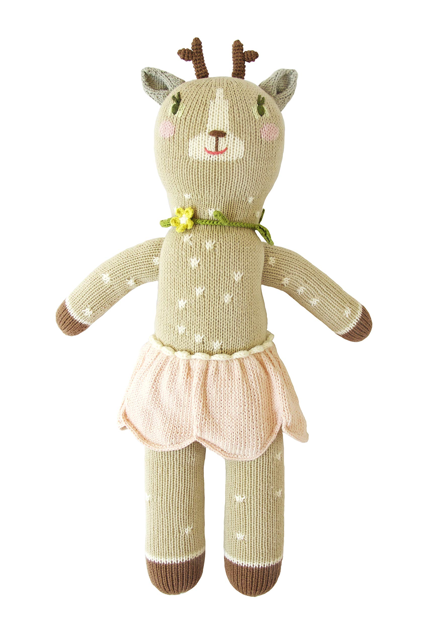 Blabla Hazel The Deer Plush Doll - Knit Stuffed Animal for Kids. Cute, Cuddly & Soft Cotton Toy. Perfect, Forever Cherished. Eco-Friendly. Certified Safe & Non-Toxic.