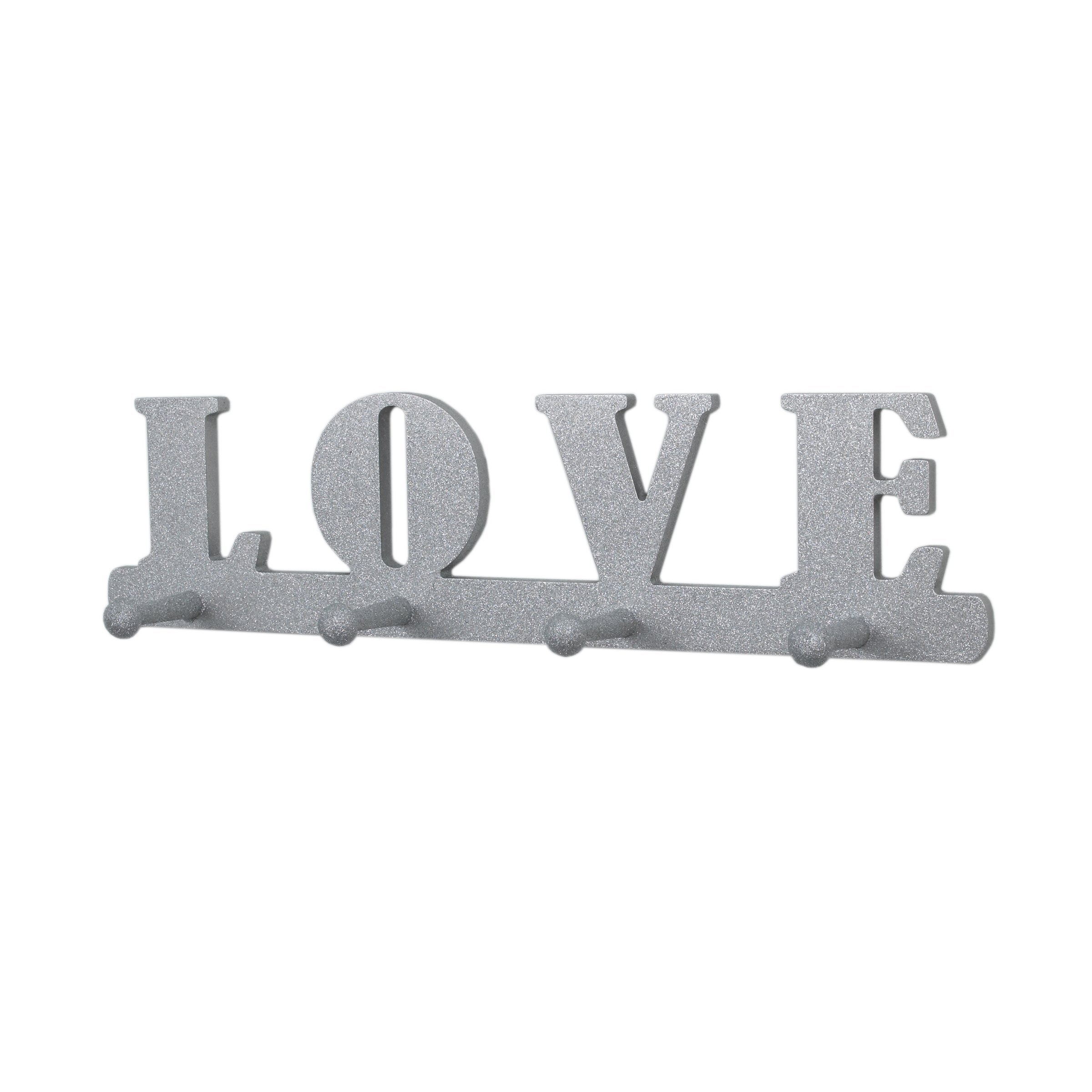 NoJo Love Wall Decor/Pegs, Metallic Silver
