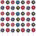 Hestya Plastic Rainbow Pinwheel, Party Pinwheels DIY Lawn Windmill Set for Teenagers Toy Garden Party Lawn Decor (50 Pieces, Multicolor A)