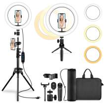 """10.2"""" Selfie Ring Light with Tripod Stand, Cell Phone Holder, Tablet Stand LED Circle Lights for Live YouTube Video TikTok Instagram Facebook Makeup for all iOS/Android Cell Phone, Camera(with 2 Bags)"""