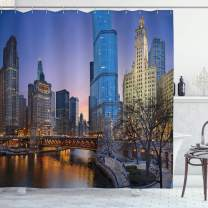 """Ambesonne Landscape Shower Curtain, USA Chicago Cityscape with Rivers Bridge and Skyscrapers Cosmopolitan City Image, Cloth Fabric Bathroom Decor Set with Hooks, 84"""" Long Extra, Brown Violet"""