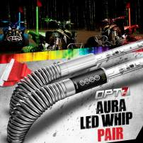 OPT7 Aura 4ft LED Whip Lights Pair w/Quick Release Shock Spring Remote, and Flag 64+ Multi-Color Patterns Shatterproof Waterproof Build Accessories for All-Terrain Off Road ATV Polaris RZR 4 Wheeler