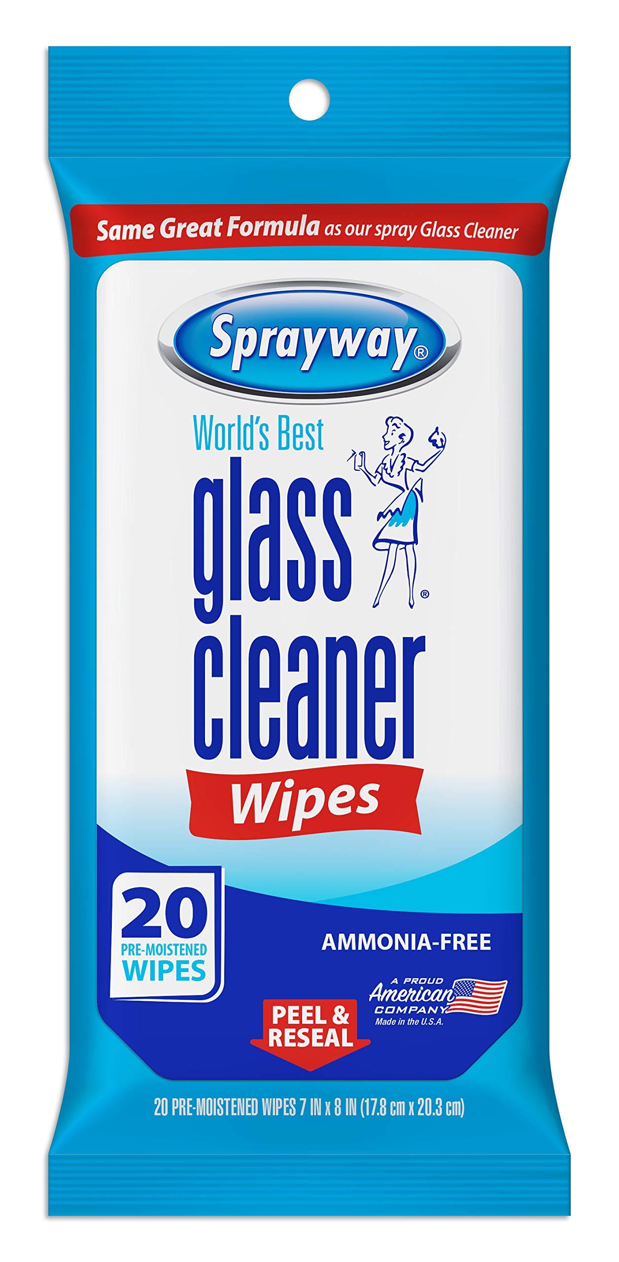 Sprayway SW199R Ammonia-FreeGlass Cleaner Wipes,Fresh Scent, 20 Count