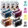 LD Compatible Ink Cartridge Replacement for Canon CLI8 (2 Black, 2 Cyan, 2 Magenta, 2 Yellow, 8-Pack)