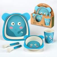Certified International Elephant 5-piece Eco Friendly Bamboo Fiber Children's Dinnerware Set, Multicolored