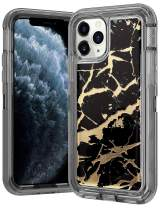 Wollony for iPhone 11 Pro Case Marble Gold Glitter Girly Sparkle 3 in 1 Heavy Duty Hybrid Impact Resistant Shockproof Hard Bumper Non-Slip Soft Rubber Protective Cover for iPhone 11 Pro 5.8inch Black