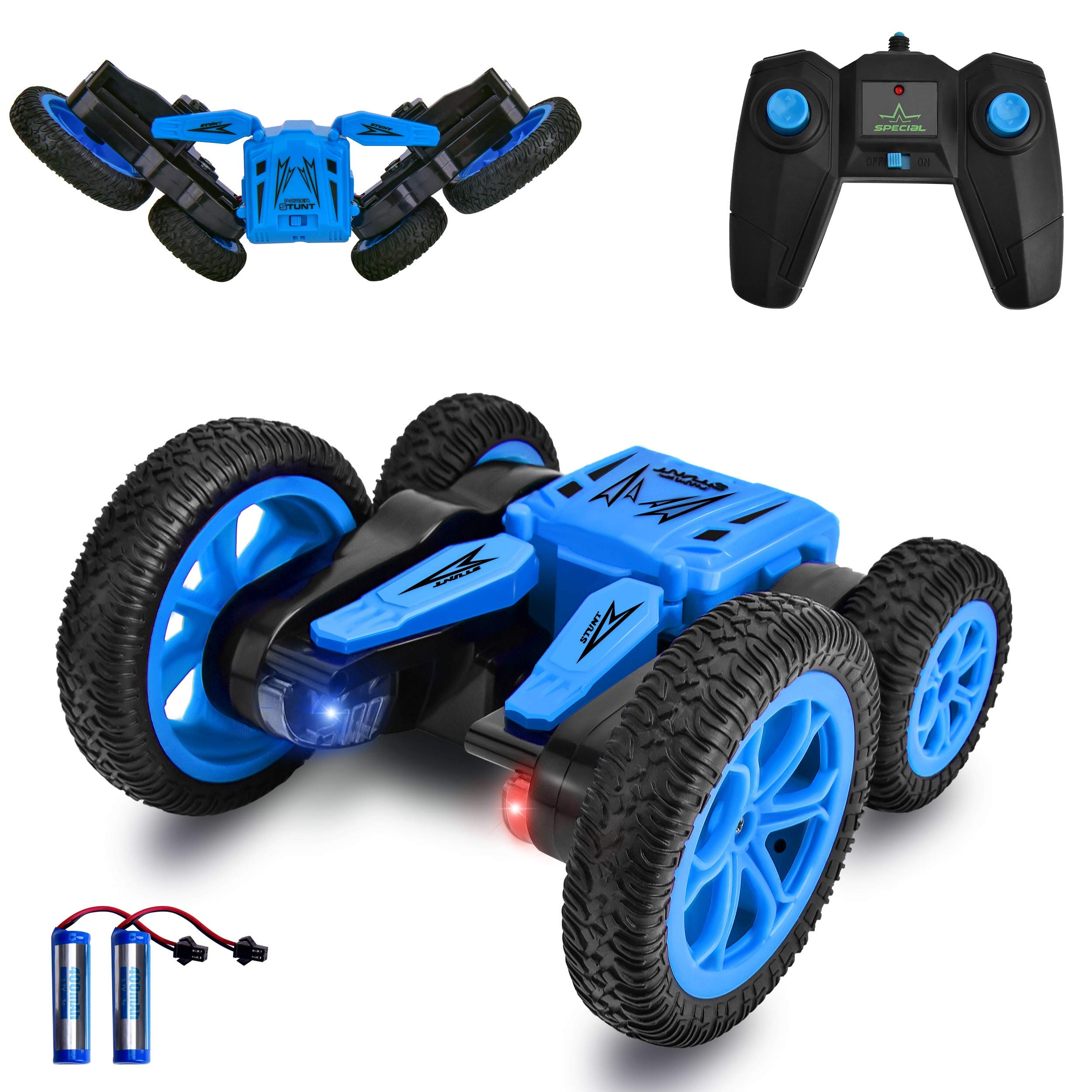 Remote Control Car 4WD RC Stunt Cars Toys for Kids Double Sided Rotating 360°Flips Off Road RC Truck Racing Car Toy Xmas Gifts for 3 4 5 6 7 8 9 Year Old Boys 2 Batteries (Blue)