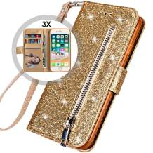 Auker iPhone 8 Zipper Wallet Case with Strap,iPhone 7 Flip Case for Women, Bling Glitter Leather Folio Magnet Folding Stand Sparkly Protective Wallet Purse Case with Card Holder/Money Pocket (Gold)