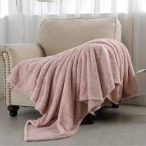SOCHOW Sherpa Fleece Throw Blanket, All Seasons Lightweight Fuzzy Warm Super Soft Plush Blanket for Bed, Sofa and Couch, 60 x 80 inches, Pink