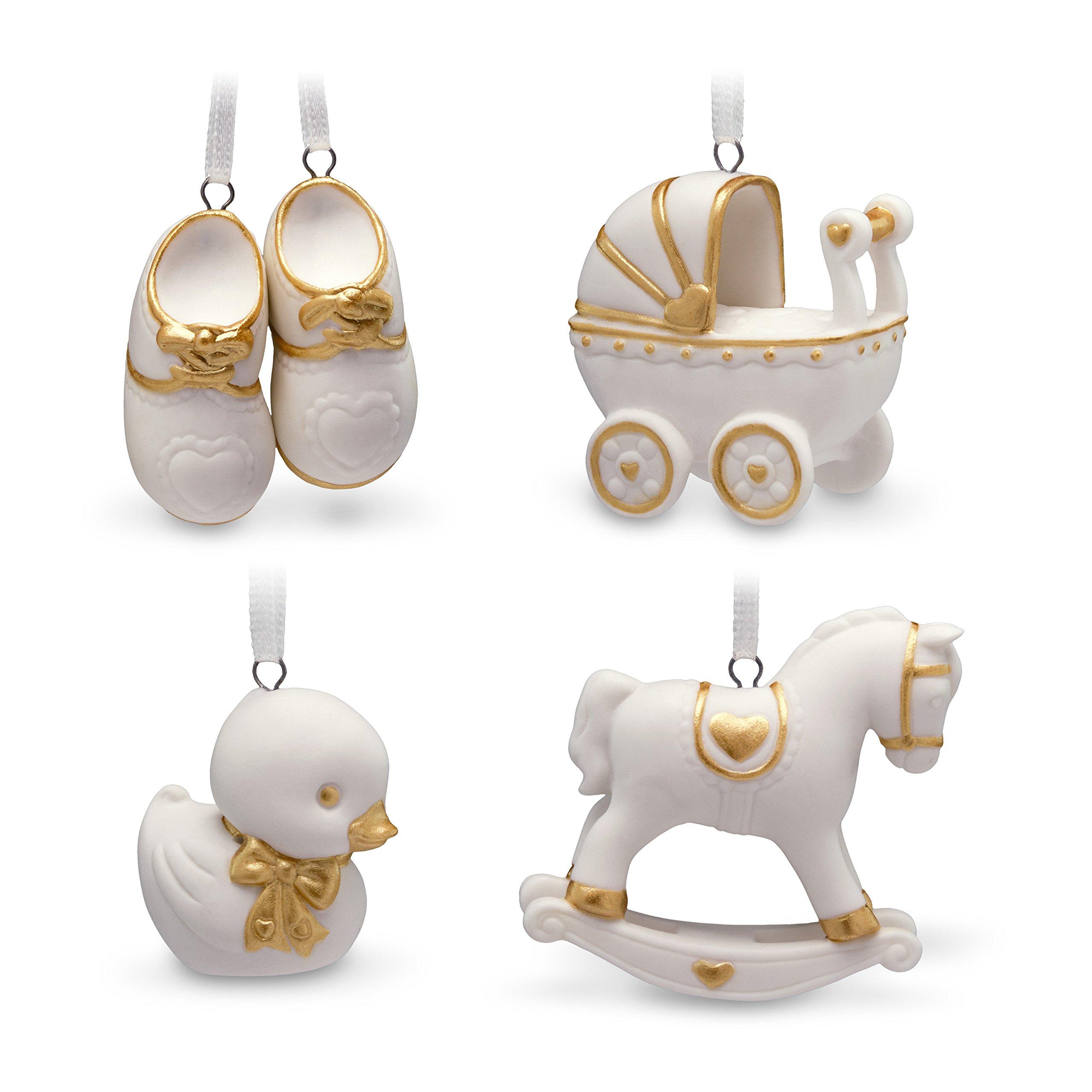 Hallmark Keepsake Mini Christmas Ornaments 2018 Year Dated, Welcome Baby Miniature, Set of 4 Porcelain