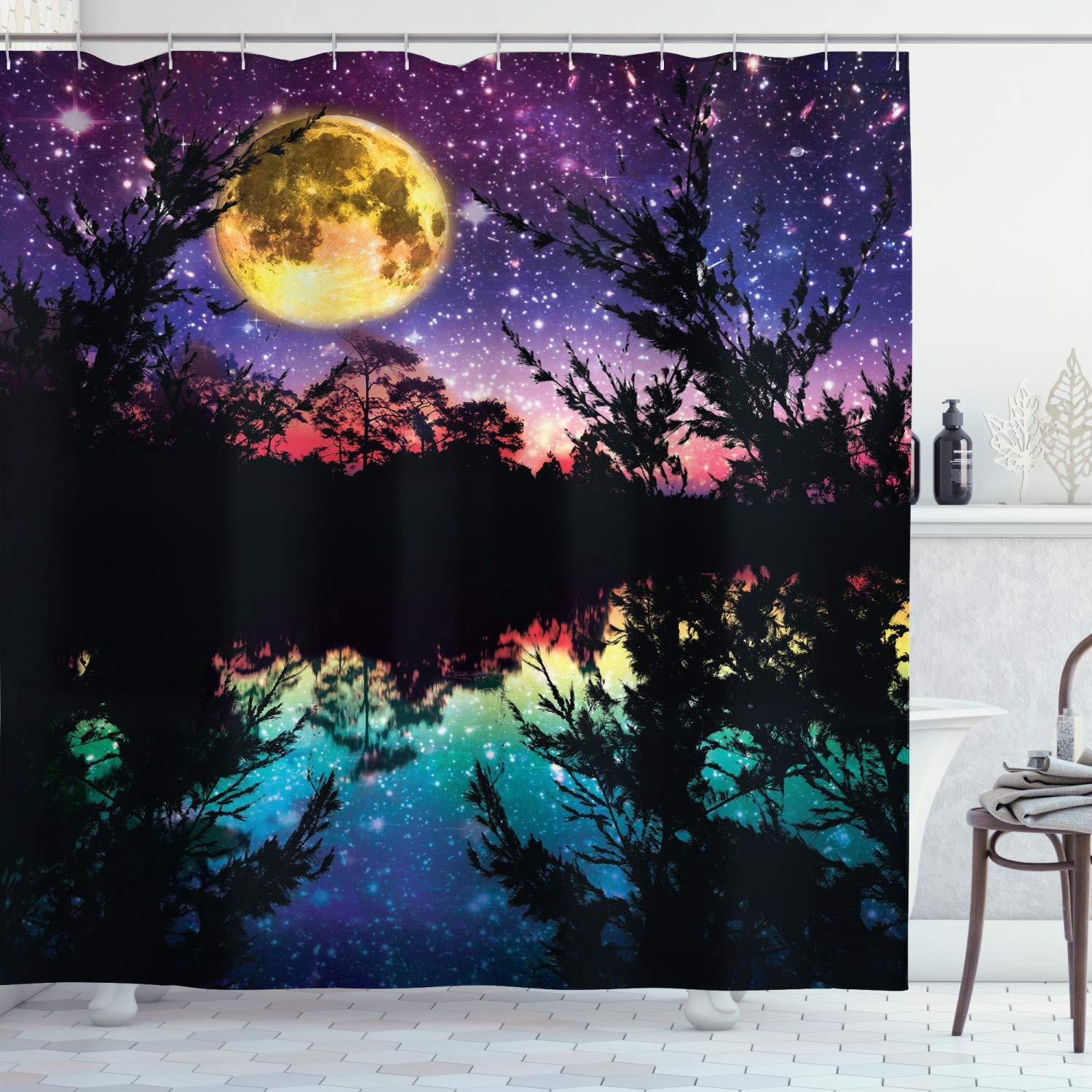 """Ambesonne Purple Shower Curtain, Lake Moonlight Stars in Night Sky with Trees Contemporary Modern Design, Cloth Fabric Bathroom Decor Set with Hooks, 70"""" Long, Dark Colors"""