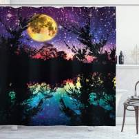 "Ambesonne Purple Shower Curtain, Lake Moonlight Stars in Night Sky with Trees Contemporary Modern Design, Cloth Fabric Bathroom Decor Set with Hooks, 70"" Long, Dark Colors"