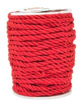 Mandala Crafts Rayon Twisted Cord Trim, Shiny Viscose Cording for Home Décor, Upholstery, Curtain Tieback, Honor Cord (5mm, Red)