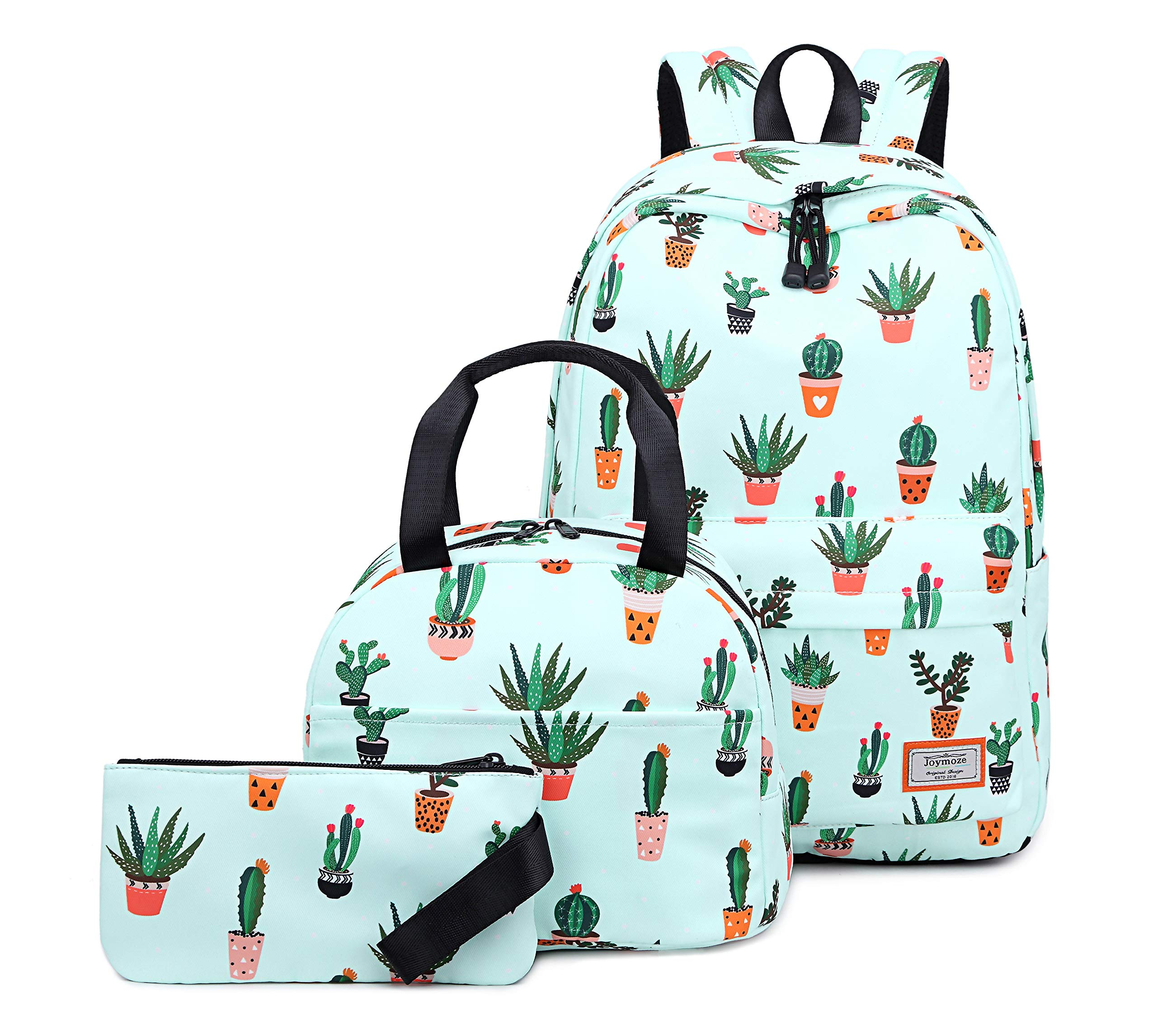 Joymoze Water Resistant Teen Girl Bookbag with Lunch Bag and Pencil Purse Cactus
