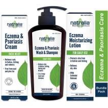 Natralia Eczema & Psoriasis Care Regimen with Itch Relief Cream, Body & Skin Wash, Lotion