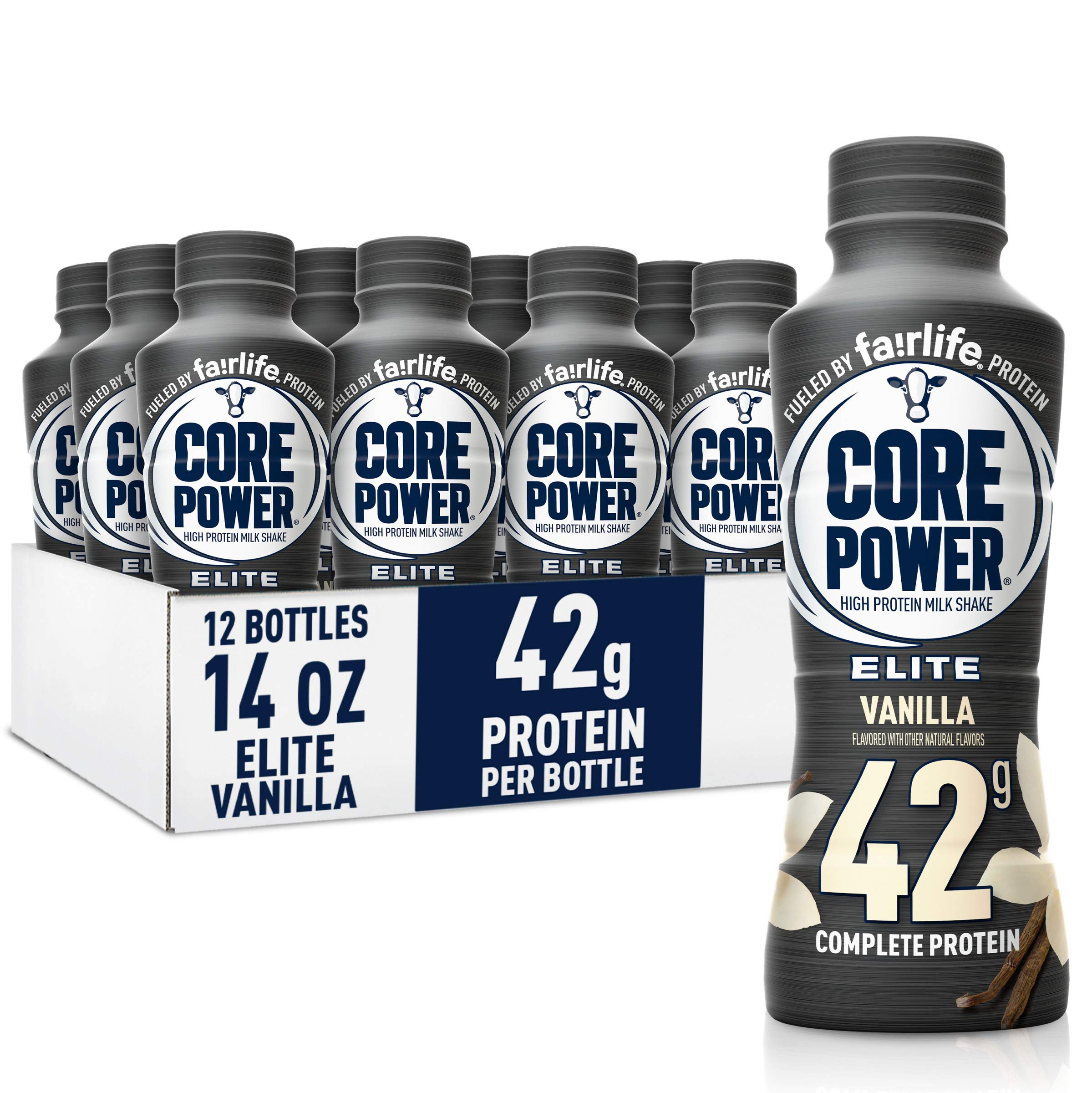 Fairlife Core Power Elite High Protein Shake (42g), Vanilla, Ready To Drink for Workout Recovery, 14 Fl Oz Bottles (12 Pack)