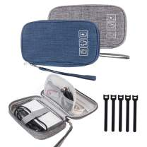 Cable Organizer Bag, 2 PCS Travel Cord Organizer Case Small Electronic Accessories Carry Bag Portable for Cable, Cord, Charger, Hard Drive, Earphone, USB,SD Card with 5 Cable Ties(Gray+Blue)