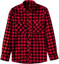 Souactimuy Men's Plaid Flannel Shirt Button Down Long Sleeve Casual Regular Version