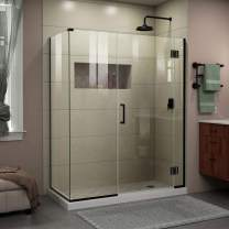 DreamLine Unidoor-X 35 1/2 in. W x 34 3/8 in. D x 72 in. H Frameless Hinged Shower Enclosure in Satin Black, E12306534-09
