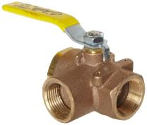 "Apollo 70-640 Series Bronze Ball Valve with Stainless Steel 316 Ball and Stem, Two Piece, 3-Port Diverting, Lever, 3/4"" NPT Female"