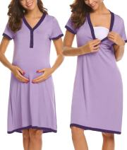Ekouaer Women's Maternity Dress Short Sleeve Nursing Nightgown for Breastfeeding Sleepwear S-XXL