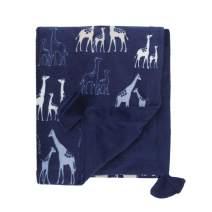 NoJo Serendipity - Navy Giraffe Print Plush Baby Blanket