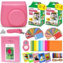 Fujifilm Instax Mini Instant Film (2 Twin Packs, 40 Total Pictures) + Flamingo Pink Fitted Case for Instax Mini 9 Instant Camera, Assorted Colorful Stickers/Frames, Photo Album + More