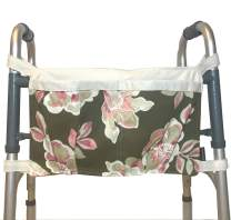 Walker Bag, Brown Floral Print with Ecru Trim | Senior Walker Accessory | Carrier Pouch for Senior Walker