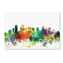 Charlotte NC Skyline SP by Marlene Watson, 22x32-Inch Canvas Wall Art