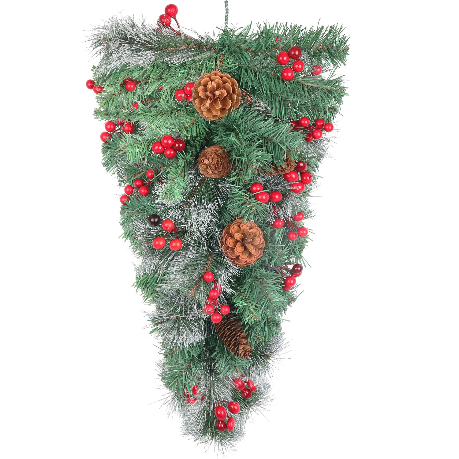 """Pauwer 28"""" Christmas Swag Wintry Pine and Pine Cones Teardrop Swag with Red Berries for Door Wall Hanging Christmas Decoration"""