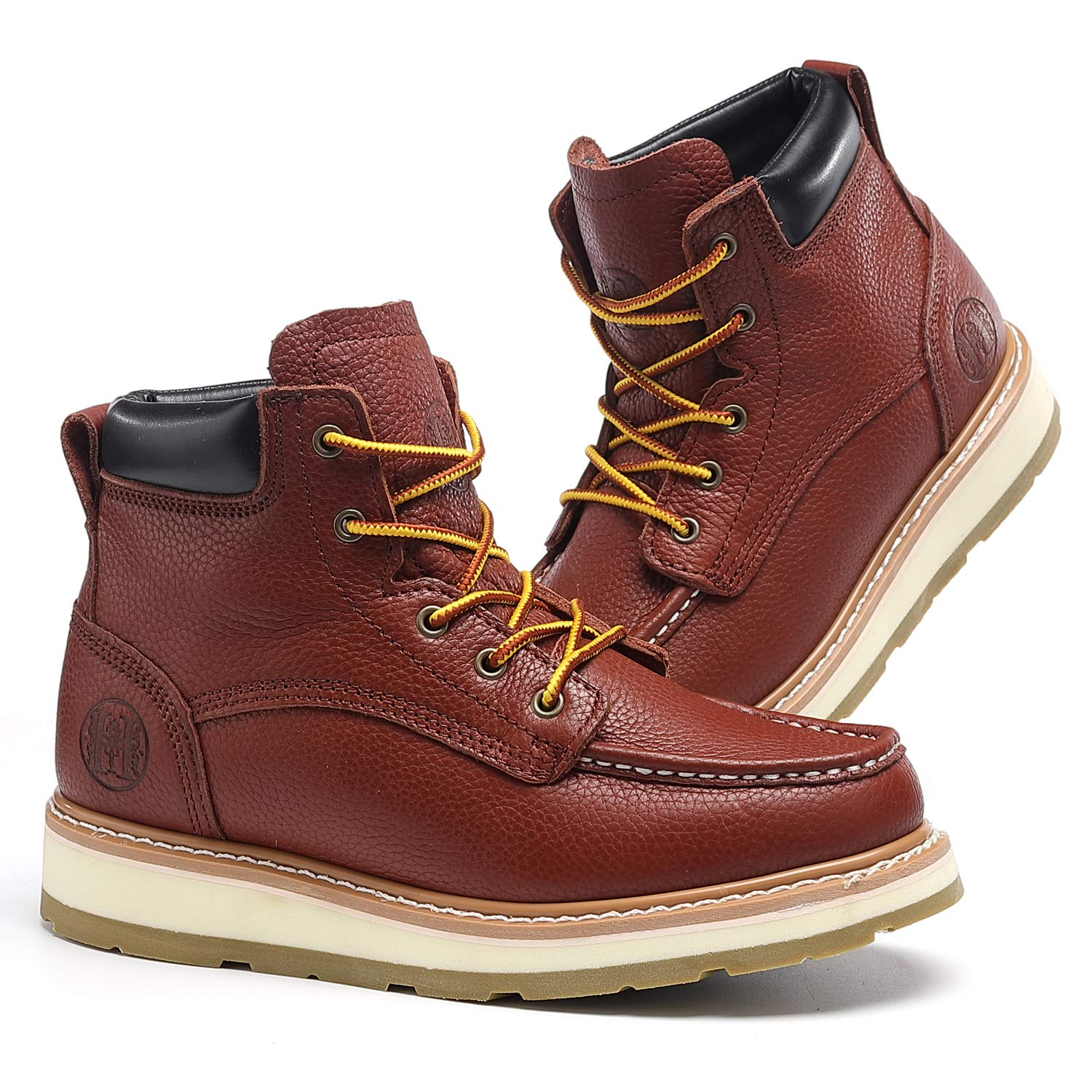"""TIANXING 6"""" Work Boots for Men Composite Soft Toe Waterproof Slip Resistant Anti-Puncture Moc Toe Construction Safety Working Boots"""