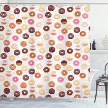 """Ambesonne Food Shower Curtain, Donuts and Little Hearts Pattern Colorful Yummy Delicious Desserts Print, Cloth Fabric Bathroom Decor Set with Hooks, 70"""" Long, Pink Brown"""