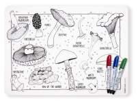 modern-twist 100% plastic free silicone, waterproof, dishwasher safe, Mark-Mat, Mat & Marker Set, Mighty Mushrooms