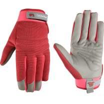 Women's Stretch ComfortHyde Leather Hybrid Work Gardening Gloves, Large (Wells Lamont 7871)