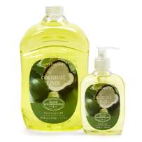 Simple Pleasures Coconut Lime Scented Hand Cleanser Value Pack- Refillable Decorative Hand Soap Pump Dispenser with Large Refill Bottle of Liquid Soap - Backed By The Good Housekeeping Seal