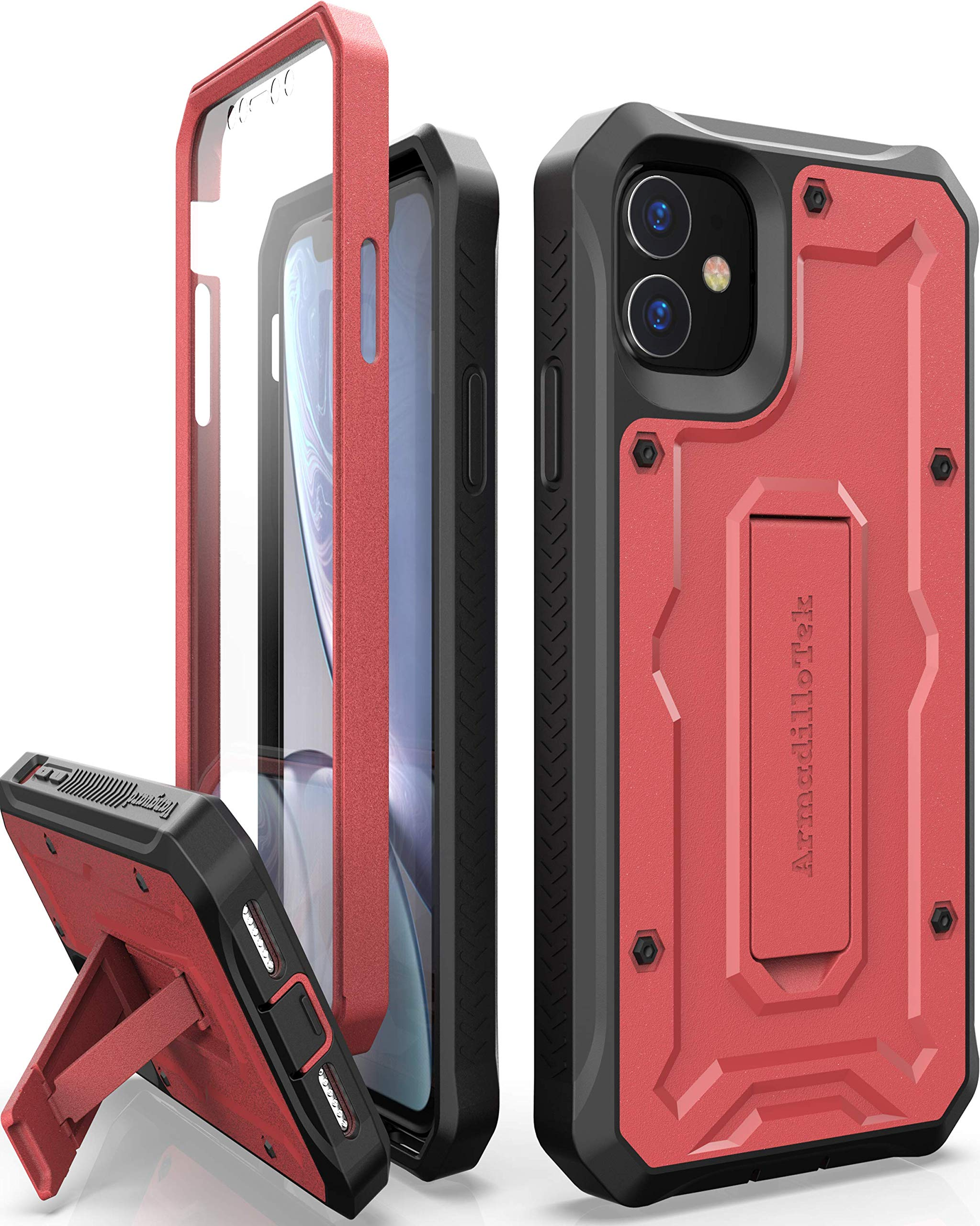 ArmadilloTek Vanguard Designed for iPhone 11 Case (6.1 inches) Military Grade Full-Body Rugged with Kickstand and Built-in Screen Protector - Red
