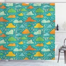 "Ambesonne Abstract Shower Curtain, Funk Art Figurative Sloppy Fluffy Rain Clouds on Sky Gloomy Weather Humor Print, Cloth Fabric Bathroom Decor Set with Hooks, 75"" Long, Orange Teal"
