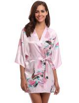 Aibrou Women's Kimono Robe Satin Peacock Bathrobe Short Silk Bridal Robe