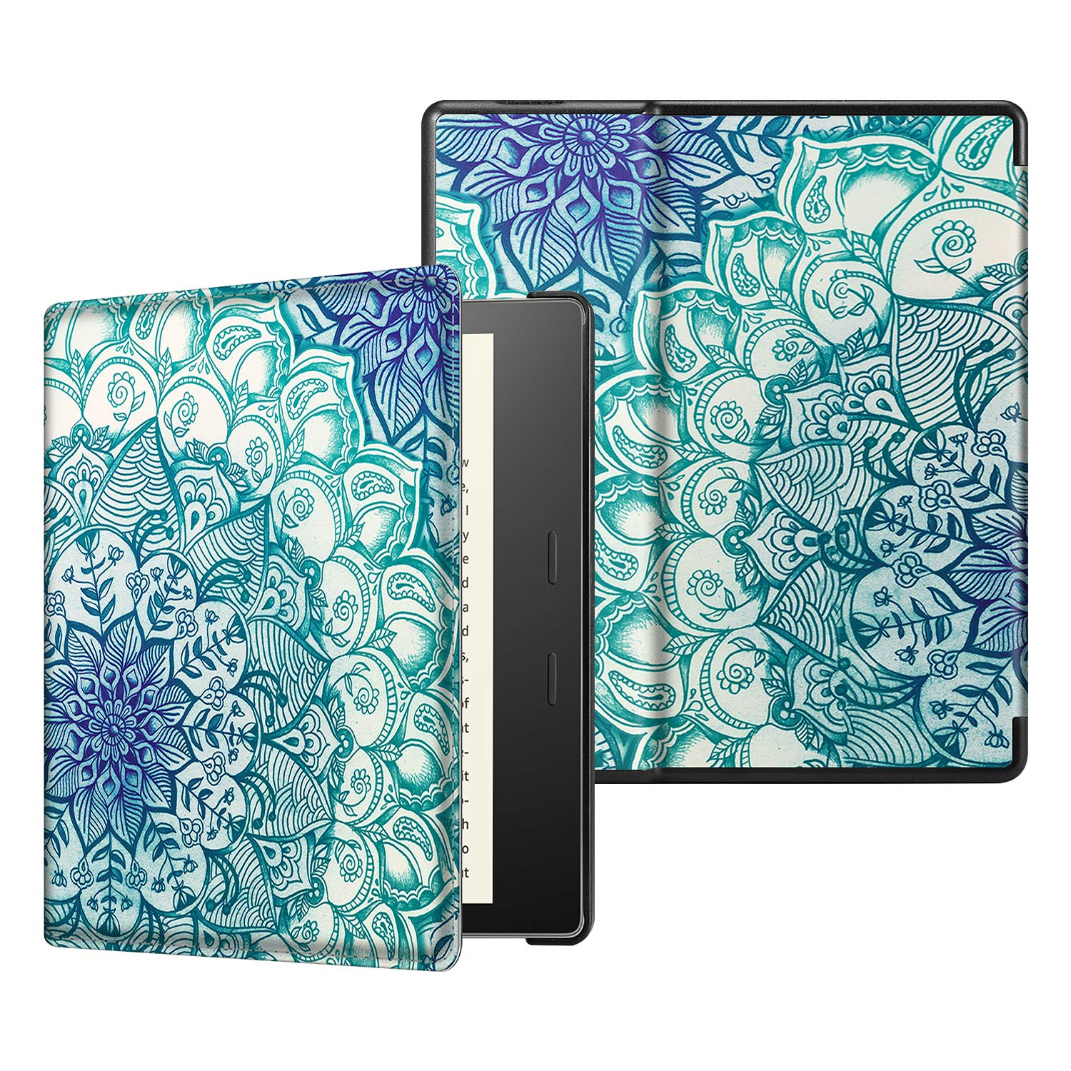 CaseBot Slimshell Case for All-New Kindle Oasis (10th Gen, 2019 Release and 9th Gen, 2017 Release) - Premium PU Leather Lightweight Protective Cover with Auto Wake Sleep, Emerald Illusions