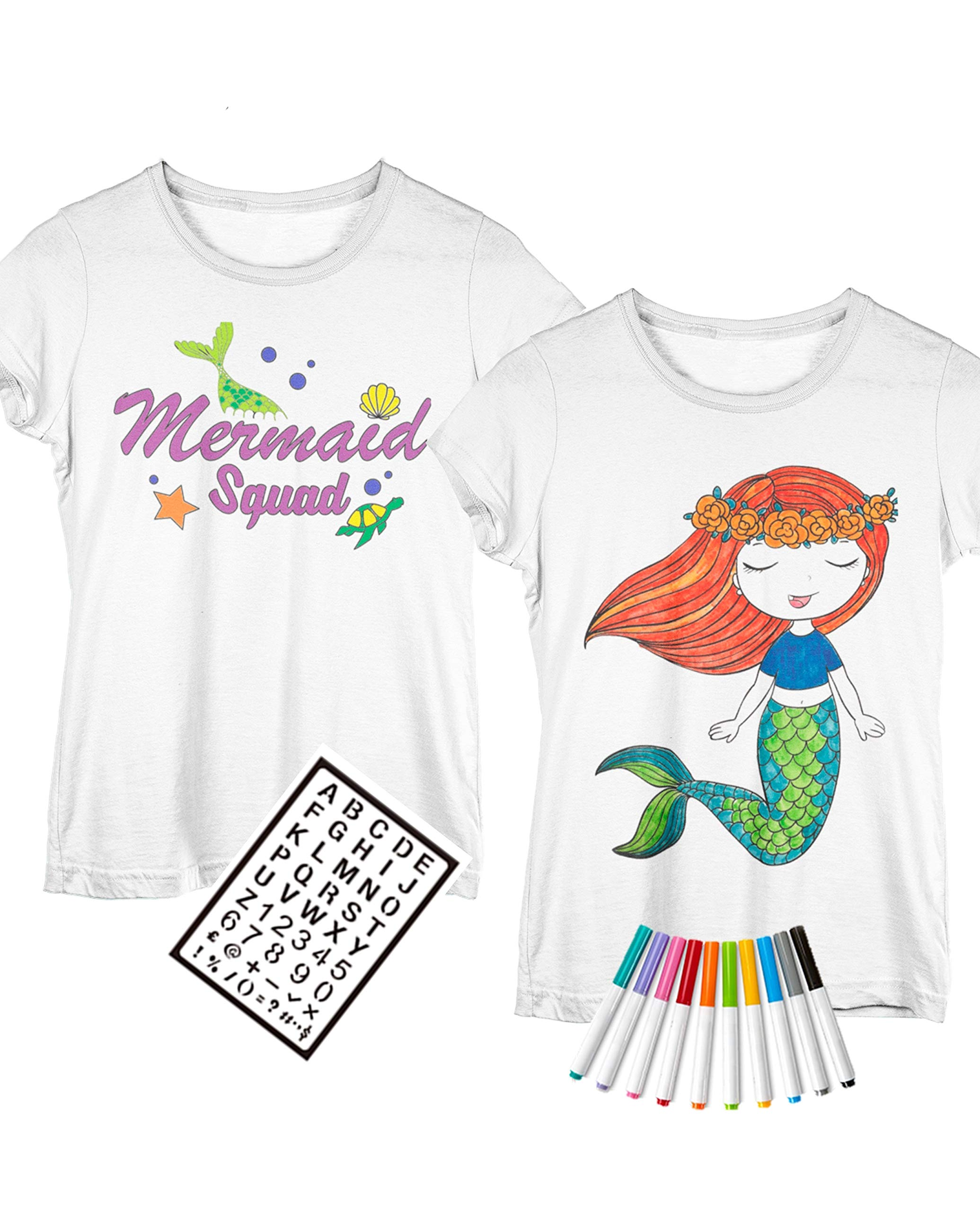 Two Coloring Shirts for Girls + Fabric Markers : Design Options: Unicorn | Birthday | Mermaid | Best Friends (Large (10-12), Mermaid)